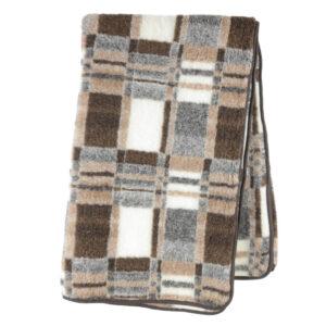 Schafwoll-Decke Wollflor Muster Karo