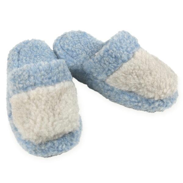 Pantoffel Woolies, hellblau/grau