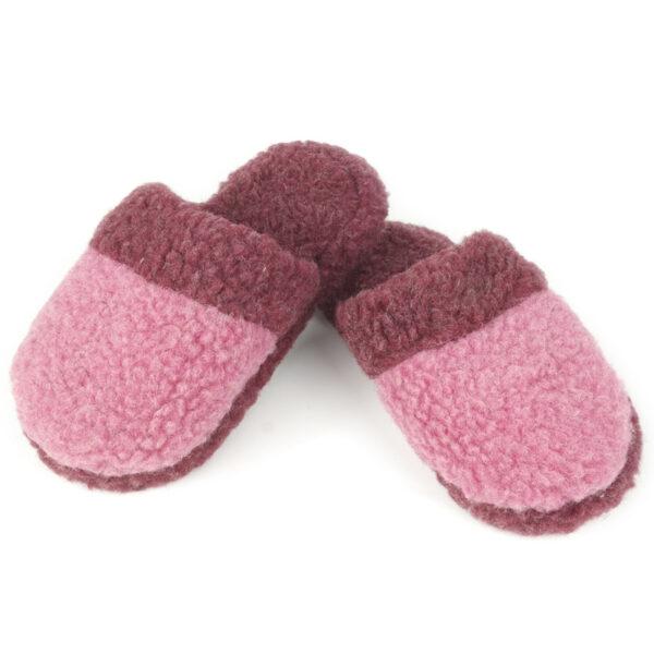 Pantoffel Woolies, bordeaux/rosa