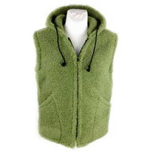 Weste Schurwolle mit Kapuze, grün